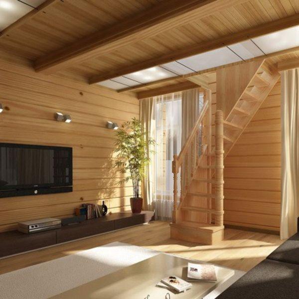 Отделка деревянного дома внутри фото второй этаж коротает